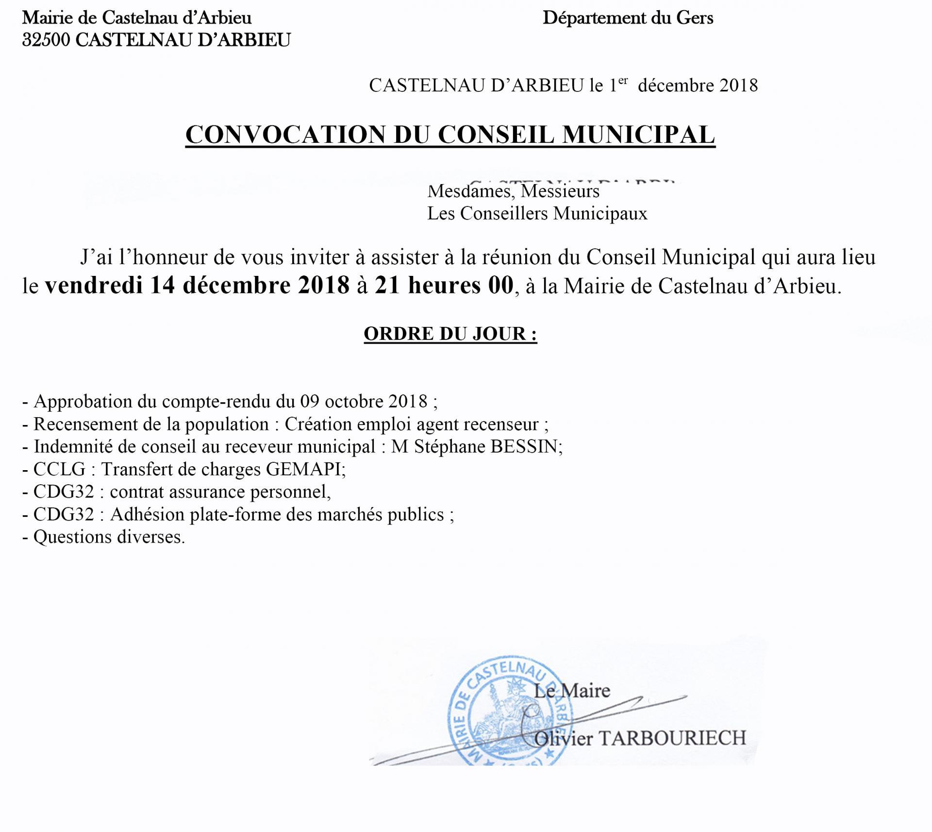 Convocation cm 14 decembre 2018